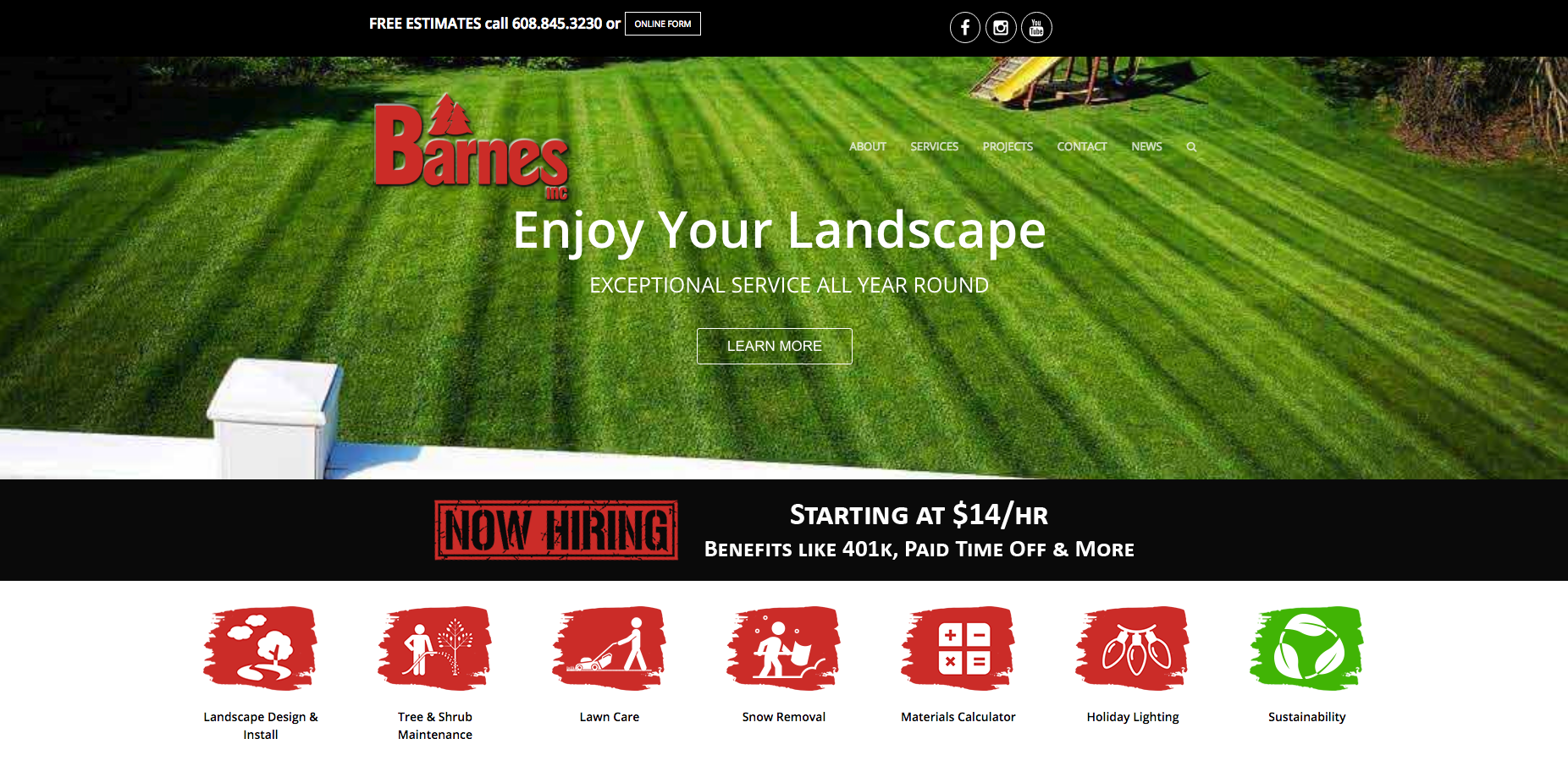 Barnes Website Design Homepage