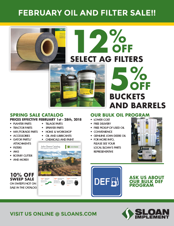 Sloan Oil and Filter Sale