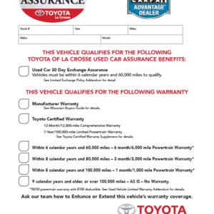 Toyota La Crosse Assurance